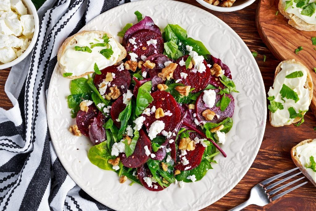 Beet Salad with fresh sweet baby spinach, kale lettuce, nuts, feta cheese and toast with melted cheese WEB